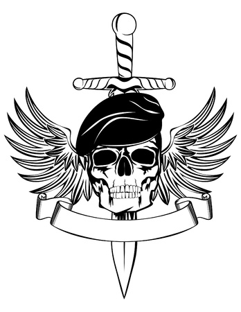 Skull in beret with dagger and wings Vector