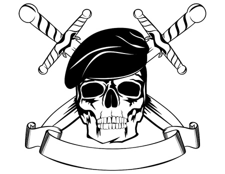 military beret: Skull in beret with the crossed daggers