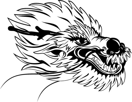 The vector image of  head of the Asian dragon Vector