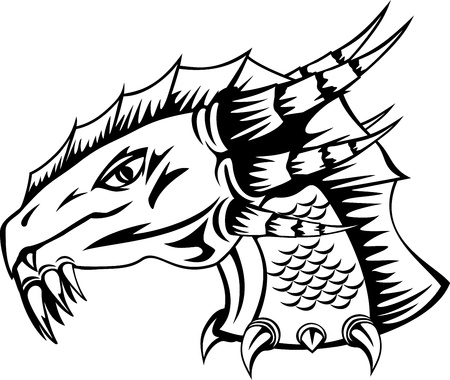tribal dragon: The vector image  head of  fantastic dragon