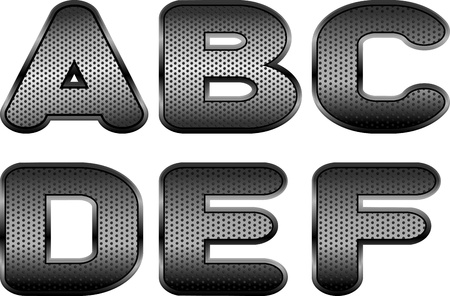 Vector letters and figures with effect of metal