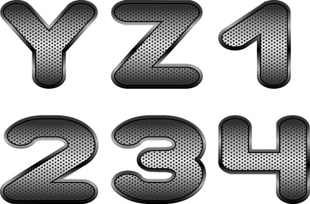 Vector letters and figures with effect of metal Vector