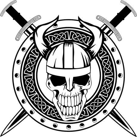 vikingo: Consejo de los vikingos con espadas cruzadas y una calavera Vectores