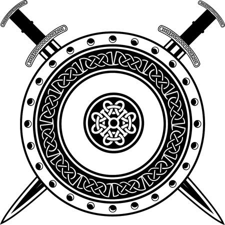 Consejo de los vikingos con espadas cruzadas