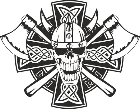 cross tattoo: Celtic cross with crossed axes and  skull
