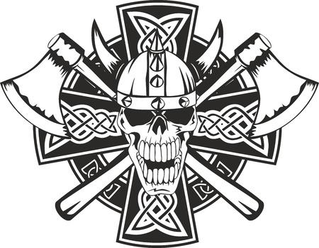 keltische muster: Keltisches Kreuz mit gekreuzten Äxten und Schädel