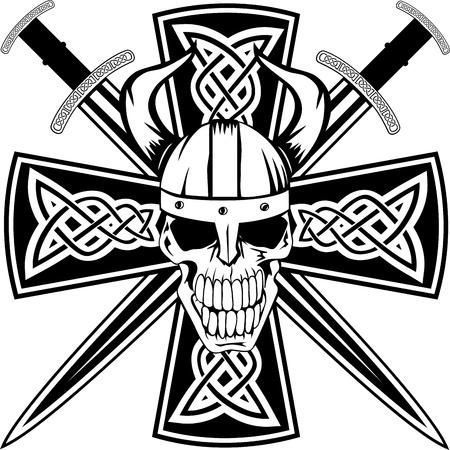celtico: Croce celtica con le spade incrociate e teschio