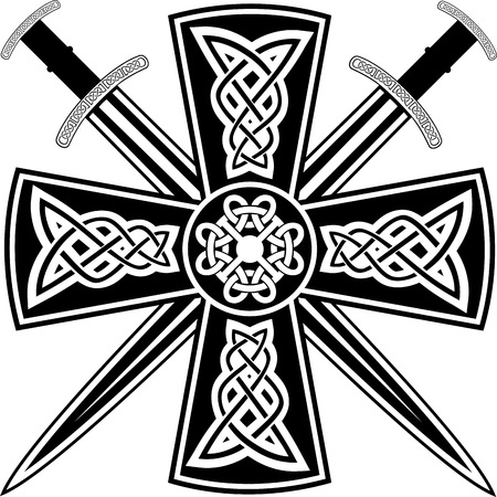 celtic culture: Celtic cross with the crossed swords