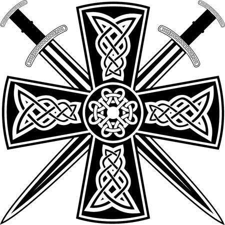 crossed swords: De la cruz c�ltica con la espadas cruzadas Vectores