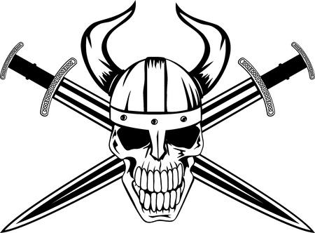 crossed swords: Cr�neo en el casco de vikingo de los espadas cruzadas