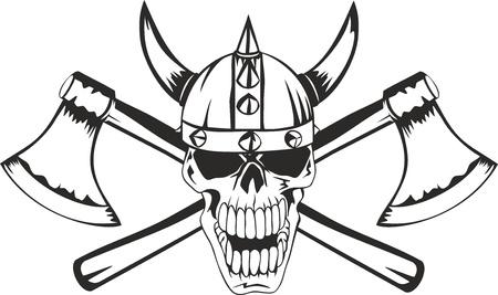 vikingo: Cráneo de un casco de la vikinga con los ejes cruzados Vectores