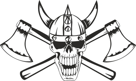 Skull in a helmet of the Viking with the crossed axes Vector