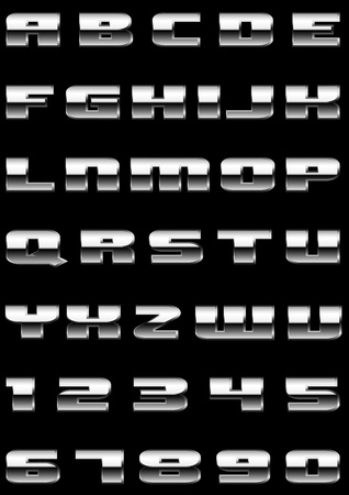 platinum background: letters and figures with effect of metal