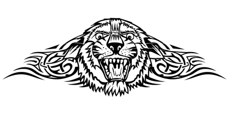 Vector illustration head tiger with patterns Vector