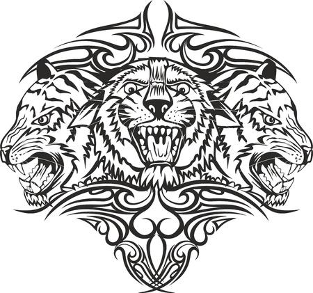 tatouage: Tigre t�te Vector illustration avec des motifs Illustration