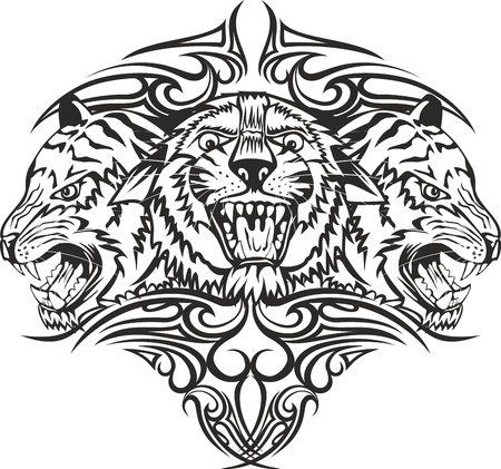 tattoo face: Vector illustration head tiger with patterns