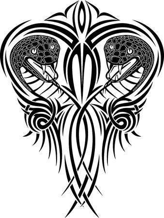 venomous snake: Vector de la ilustraci�n con dibujos de serpientes Vectores