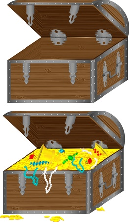 hinges: The vector image of a wooden chest with treasures and an empty chest