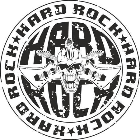 cliche: Prensa de hard rock con una inscripci�n y el cr�neo con las guitarras cruzadas
