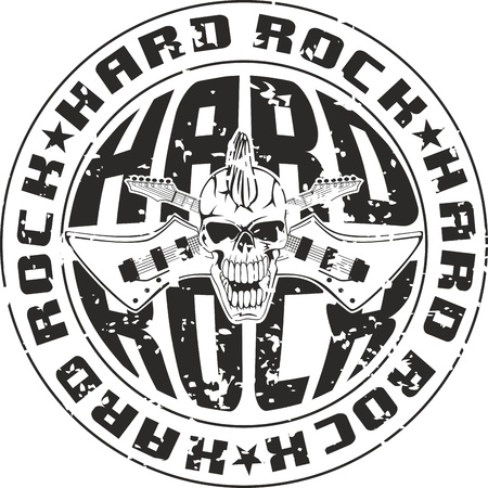 inscription: Press hard rock with an inscription and skull with crossed guitars