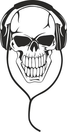 skull tattoo: Vector beeld van de menselijke schedel in stereo oortelefoons