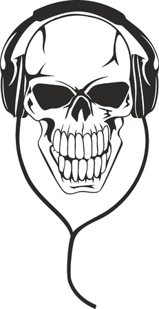 Vector image of  human skull in  stereo ear-phones Vector