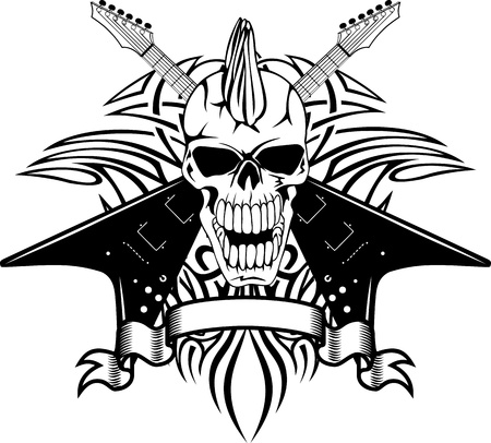Vector image of a human skull with the crossed guitars and pattern
