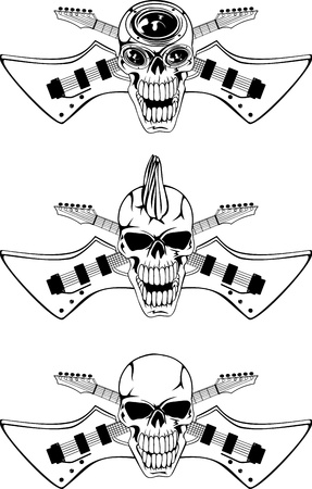 Vector image of a human skull with the crossed guitars