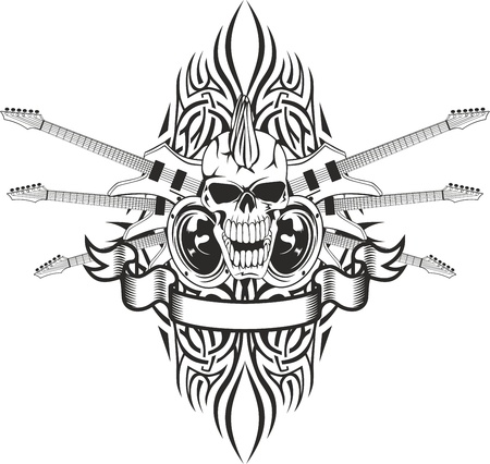 Vector image of a human skull with the crossed guitars and pattern Vector
