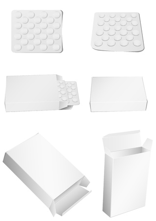 pill box: Vector image of packing for tablets and tablet