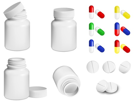 drugs pills: Bottle for medicines and set of various pills and tablets Illustration