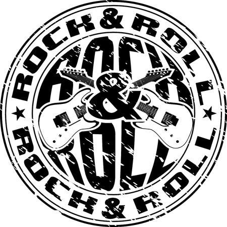 impress: Immagine vettoriale di un impronta di sigillo con la chitarra incrociate e un rock n roll scritta
