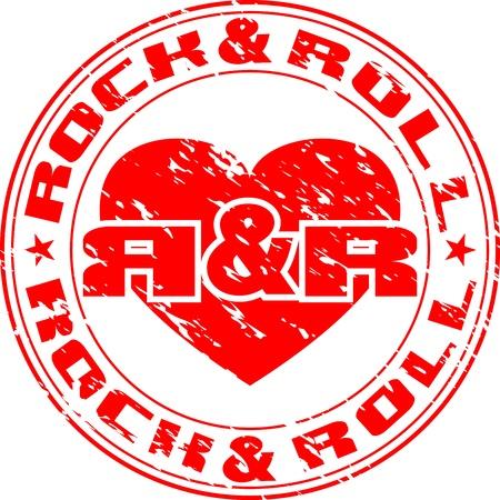 cliche: Vector de imagen de una impresi�n de sello con el coraz�n y una roca de inscripci�n n roll