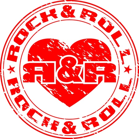 hard rock: Vector image of an impress of seal with heart and an inscription rock n roll Illustration