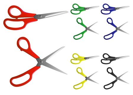 knutsel spullen: Vector beeld van de schaar met grepen van verschillende kleuren