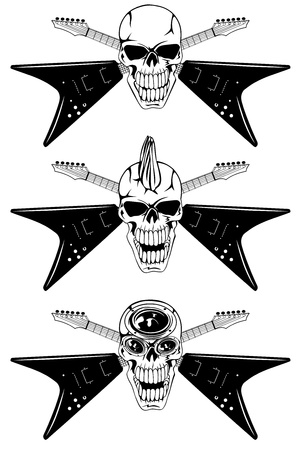 Vector image human skull with the crossed guitars Vector