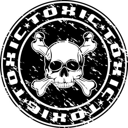 tete de mort: Vector image d'une empreinte du sceau avec le cr�ne et une inscription toxiques