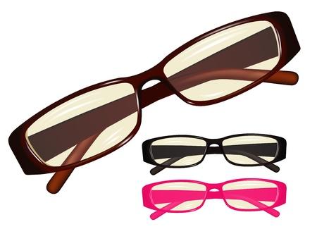Vector image eyeglasses, set different colours