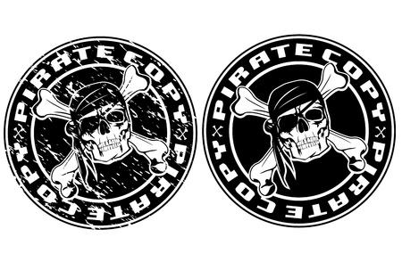 calavera pirata: Imagen del vector imprimir un sello de edad con el cráneo del pirata