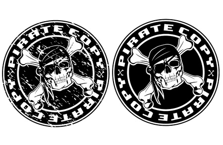 cliche: Vector image print an old seal with pirate skull