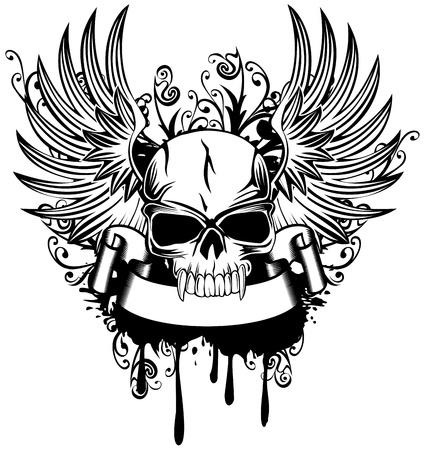 rothadó: Vektor, kép koponya szárnyakkal és minták Illusztráció