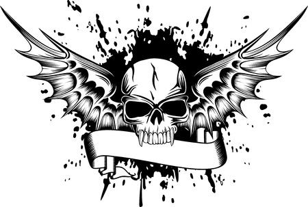 cr�nes: Vector image du cr�ne avec des ailes Illustration