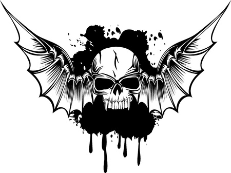 Vector image skull with wings Stock Illustratie