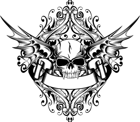 Vector image skull with wings and patterns Vector