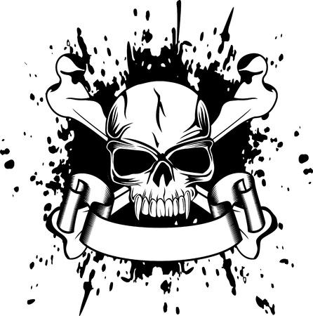 skull and crossed bones: Vector cr�neo, ilustraci�n y huesos cruzados