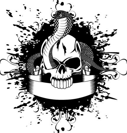 Vector illustration skull and snake