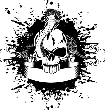 Vector illustration skull and snake Vector