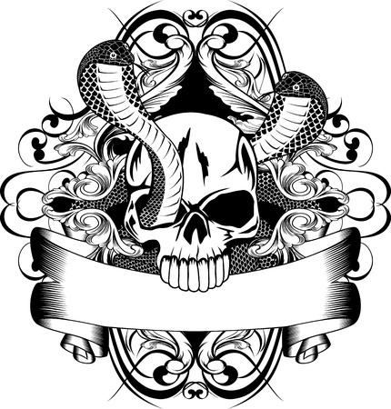 Vector illustration skull and two snake Stock Illustratie