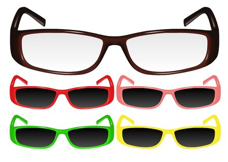 eyewear fashion: Vector image of correction glasses and sun glasses with  frame of various colours Illustration