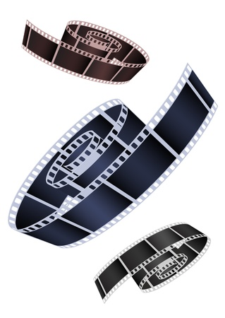 cinema strip: Vector image of the braided film of various colours